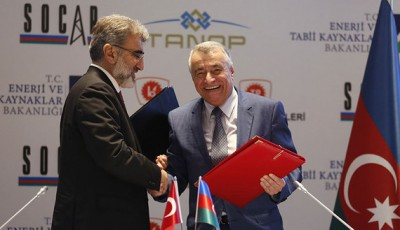 Turkey's Energy Minister Yildiz shakes hands with his Azeri counterpart Aliyev during a signing ceremony in Istanbul