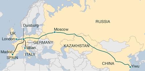 В 2017г Китай через Казахстан в Польшу направил около 500 поездов