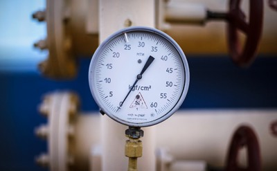 A pressure gauge is seen at a gas compressor station near Uzhhorod