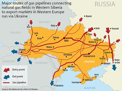 Russia downs gas flow to EU through Ukraine