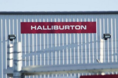 A Halliburton facility sits behind a barbed wire fence on the outskirts of Williston