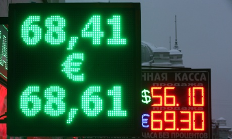 Euro-to-rouble exchange rate over 69