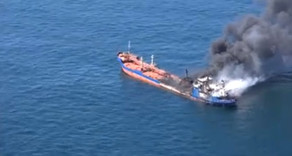 Xəzər dənizində Rusiya tankerində baş verən yanğın söndürülüb – VİDEO